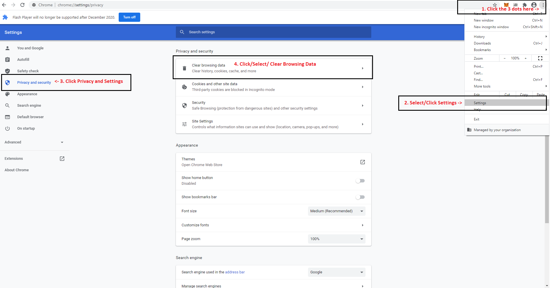 Google Chrome Settings overview